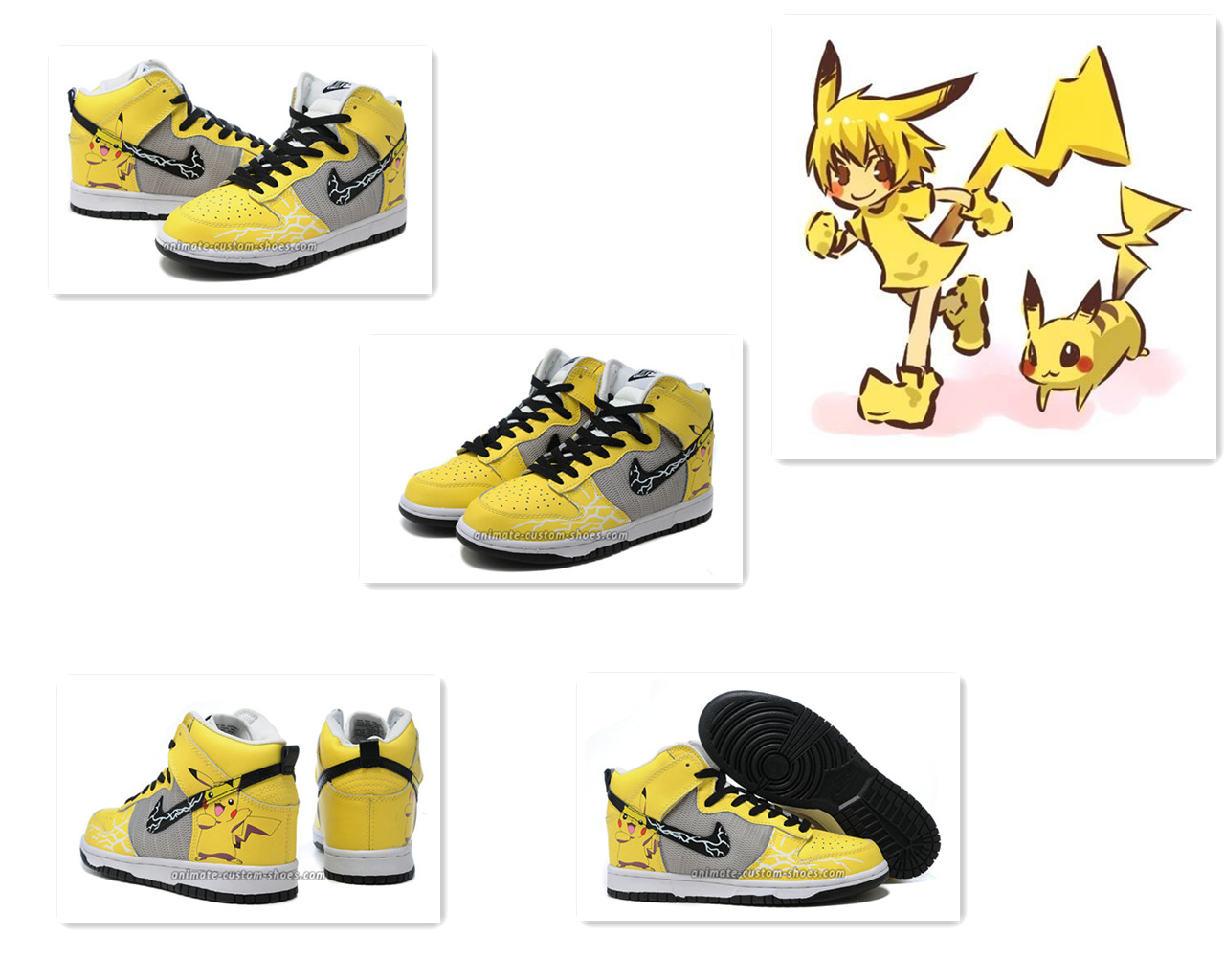 new style d4c59 e6c56 Pokemon Pikachu Customized Sneakers Nike Dunk High Top